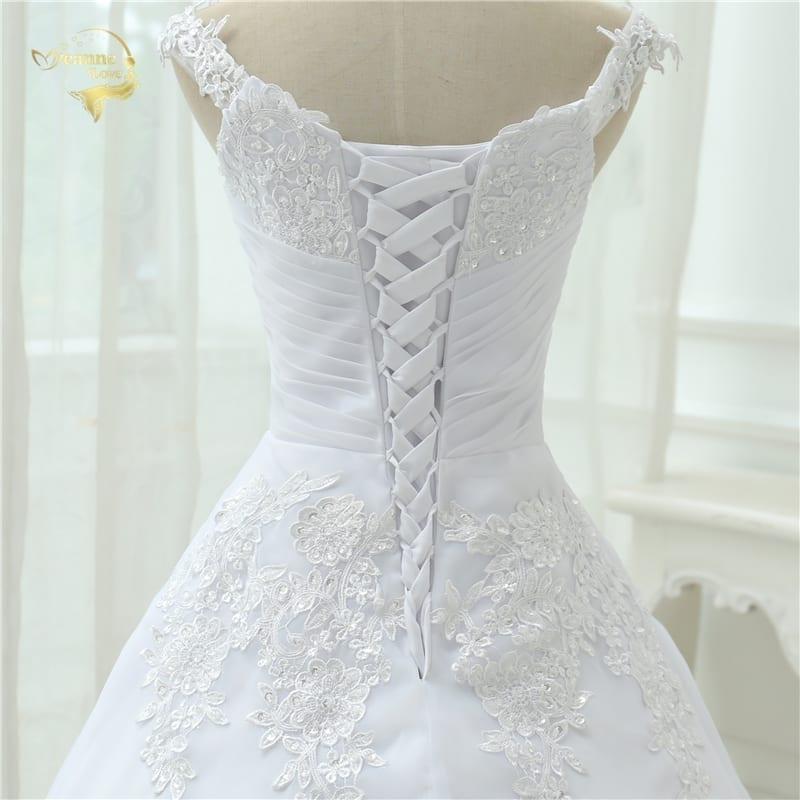 A-line Cap Sleeves Long Lace Wedding Dress
