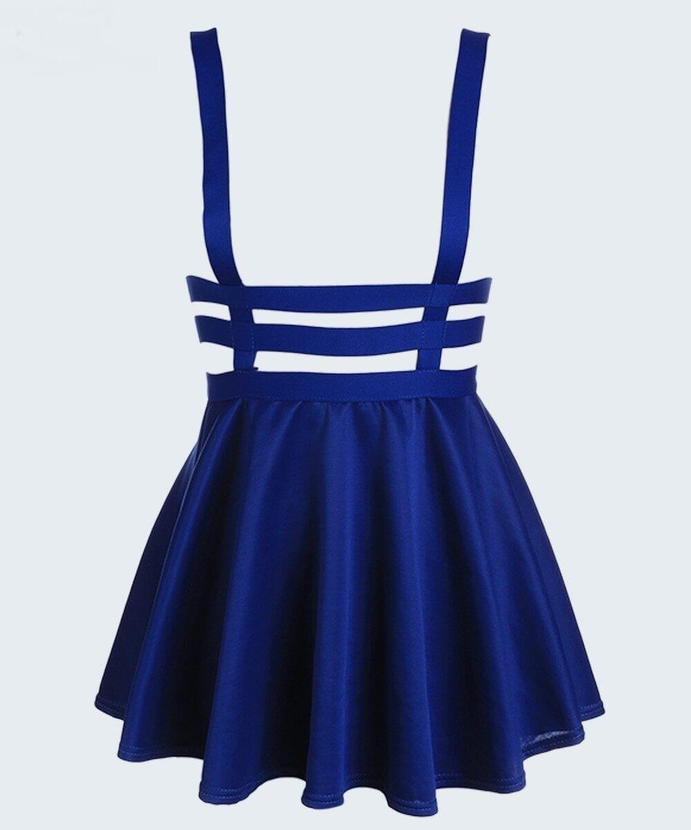 Pleated Suspender Skirt Braces Hollow Out Bandage Mini Skater Dress