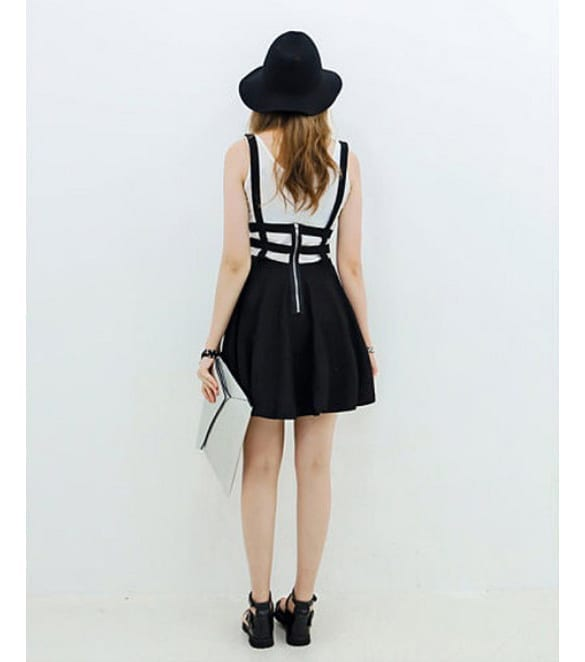Pleated Suspender Skirt Braces Hollow Out Bandage Mini Skater Dress back