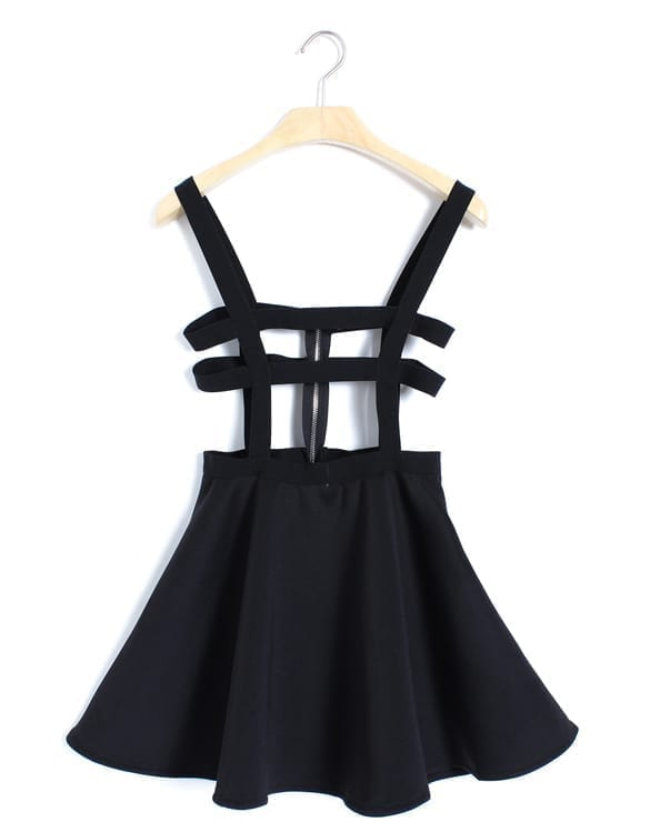 Pleated Suspender Skirt Braces Hollow Out Bandage Mini Skater Dress black