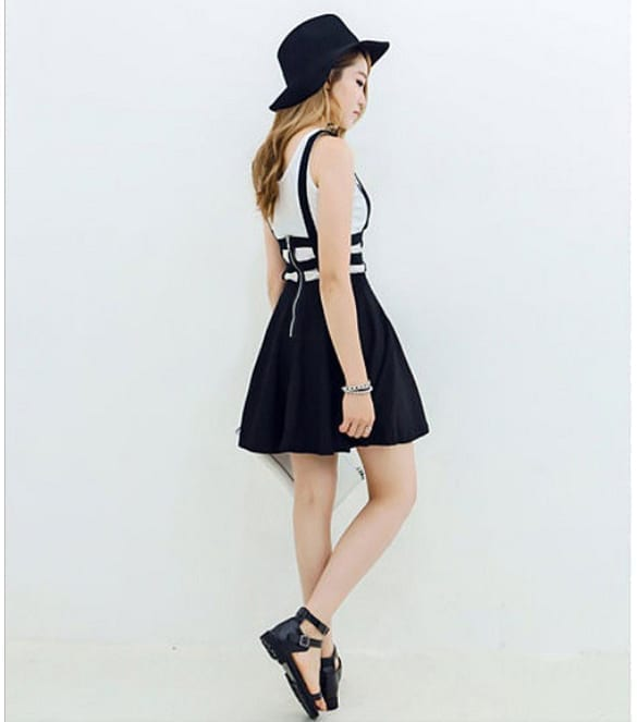 Pleated Suspender Skirt Braces Hollow Out Bandage Mini Skater Dress side