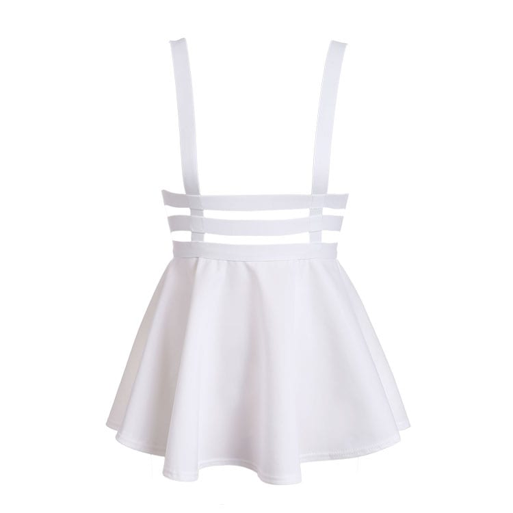 Pleated Suspender Skirt Braces Hollow Out Bandage Mini Skater Dress white