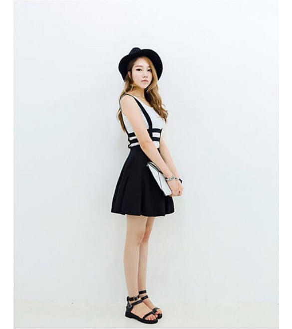 Pleated Suspender Skirt Braces Hollow Out Bandage Mini Skater Dress