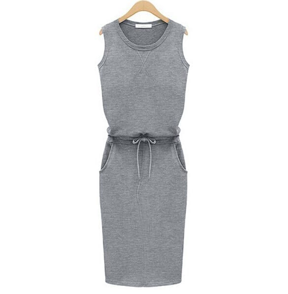 Slim Solid O-neck Sleeveless Pencil Casual Dress