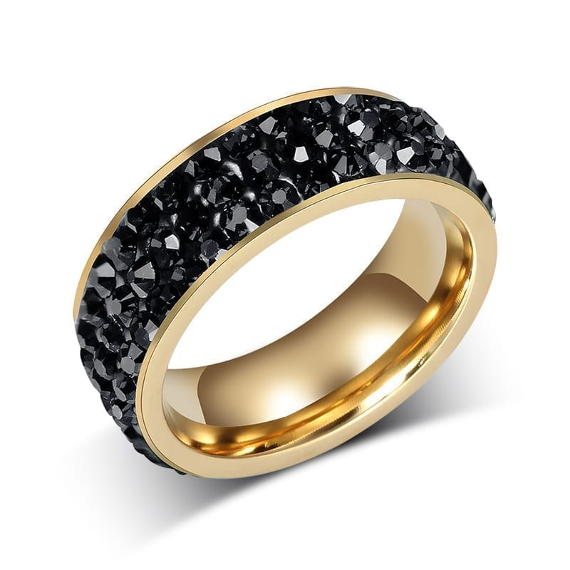 18K Gold Plated Stainless Steel Wedding Rings For Women black