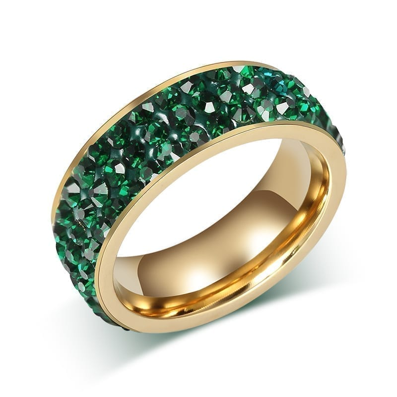 18K Gold Plated Stainless Steel Wedding Rings For Women green