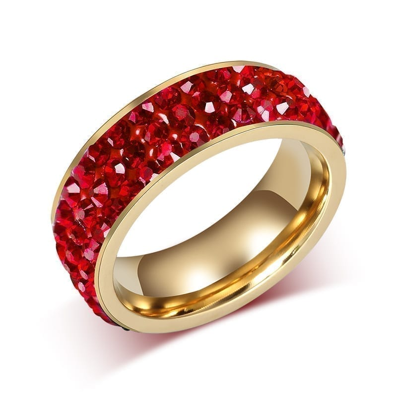 18K Gold Plated Stainless Steel Wedding Rings For Women red