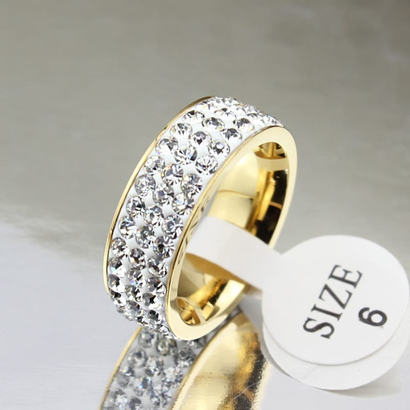 18K Gold Plated Stainless Steel Wedding Rings For Women white