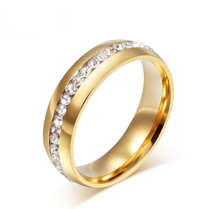 18k gold plated crystal wedding ring for women gold
