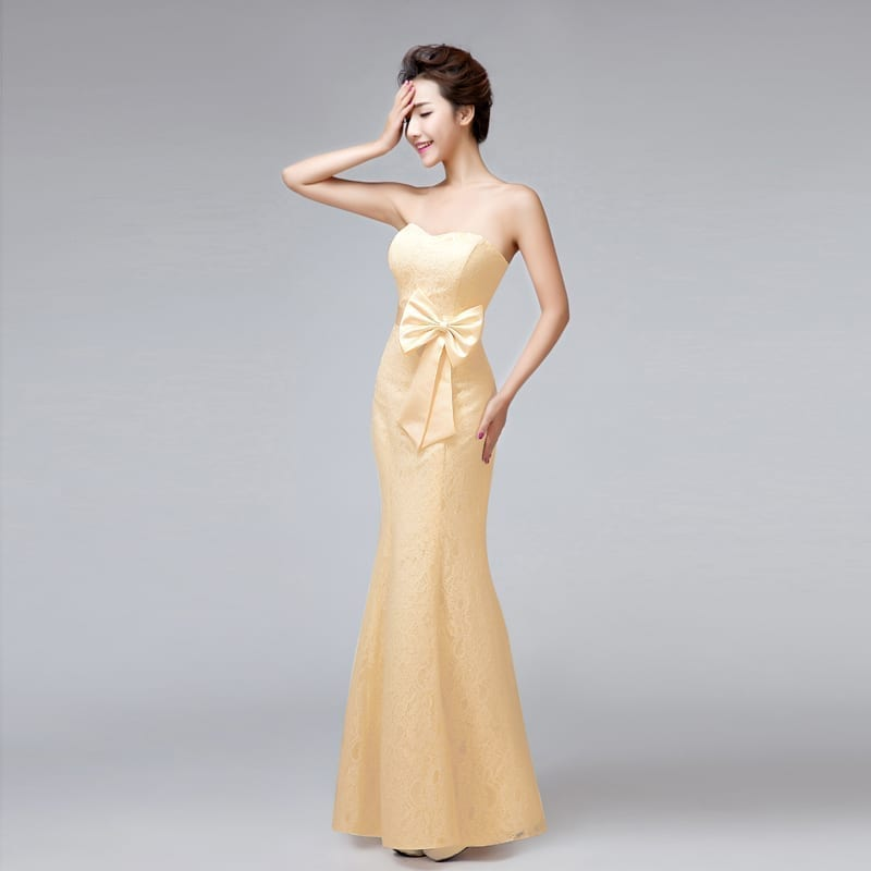Sweetheart Strapless Mermaid Long Lace Bridesmaid Dress With Bow light yellow