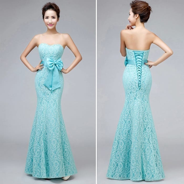 Sweetheart Strapless Mermaid Long Lace Bridesmaid Dress With Bow mint green