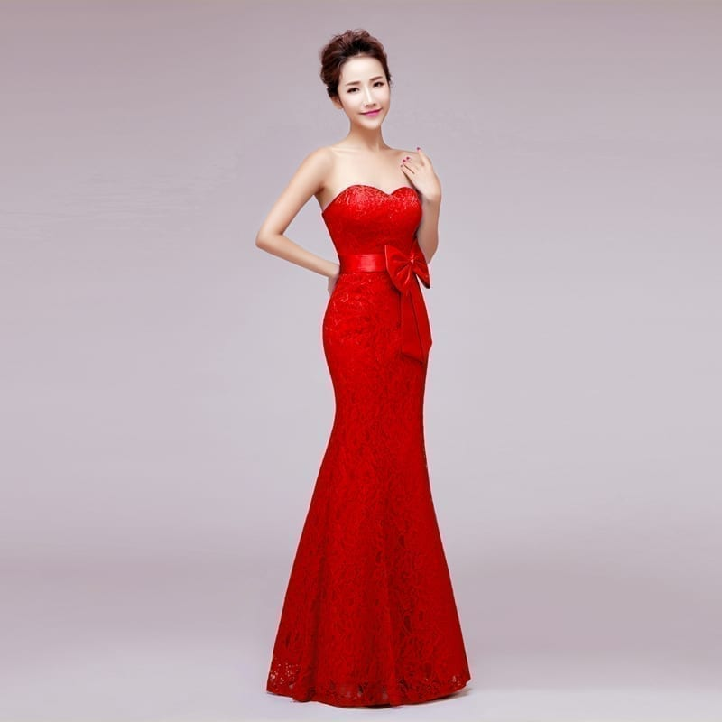 Sweetheart Strapless Mermaid Long Lace Bridesmaid Dress With Bow red