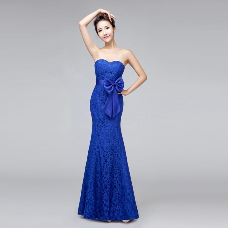 Sweetheart Strapless Mermaid Long Lace Bridesmaid Dress With Bow royal blue