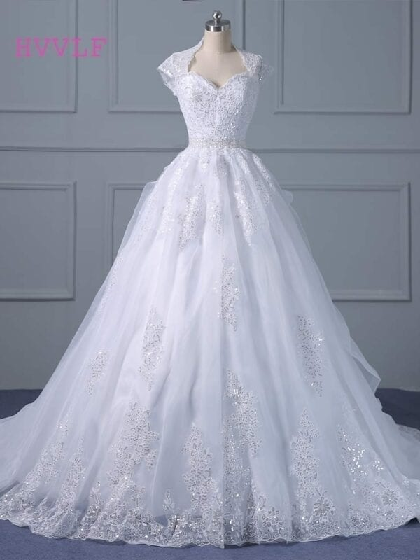 Open Back Lace Appliqued Ball Gown Wedding Dress