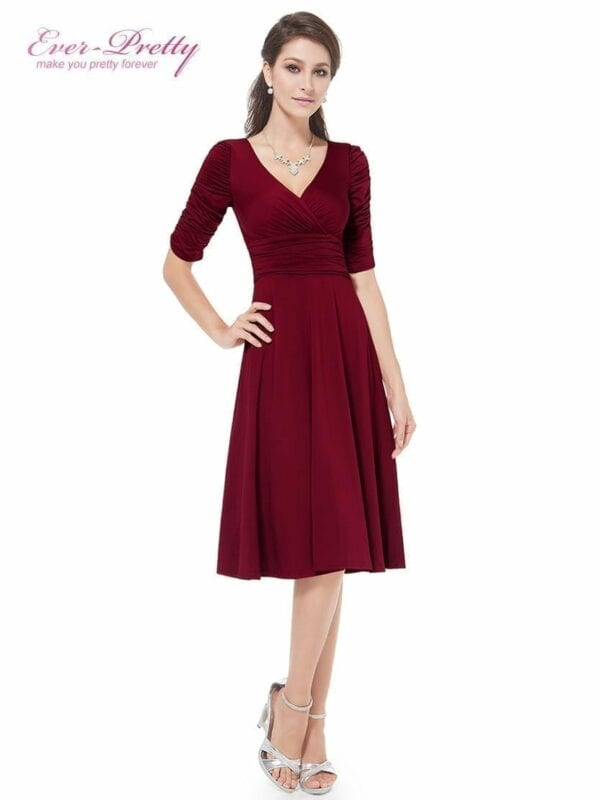 Sexy V Neck Red 3/4 Sleeve High Stretch Short Casual Dress