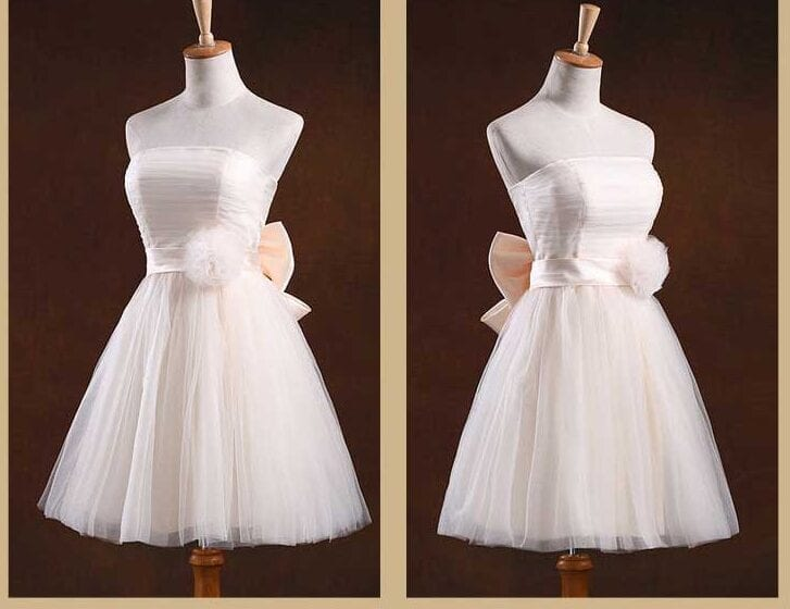 Strapless Pleat Short Wedding Party Dress