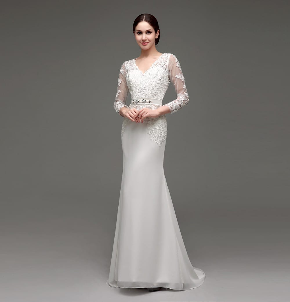 Long sleeve sheath lace appliqued bridal dress for Sheath wedding dresses lace