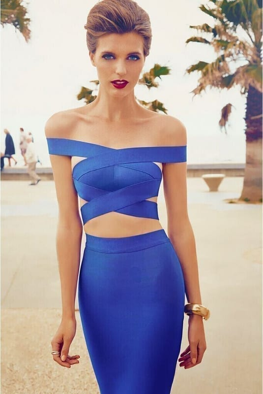 2 Piece Set Sexy Cut Out Club Blue Bodycon Bandage Dress