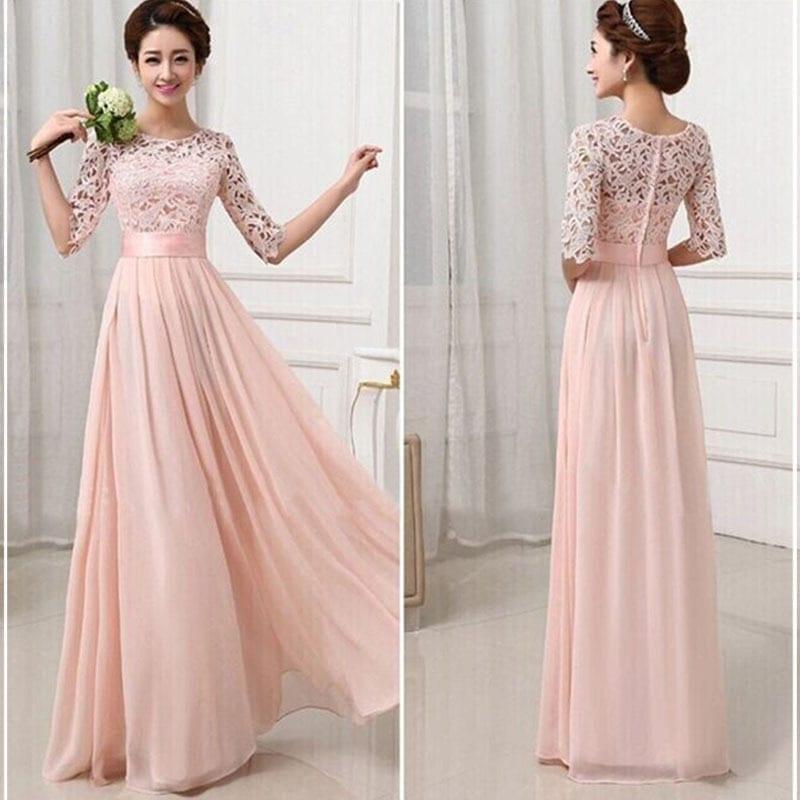 Elegant Lace Sleeve Chiffon Womens Long Formal Dress Uniqistic