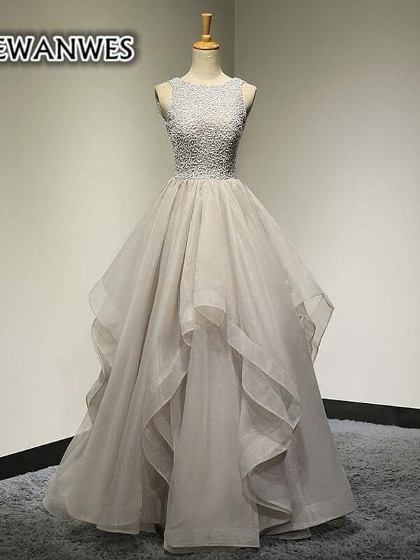 Tulle Luxury Beading Scoop Neck Wedding Gown