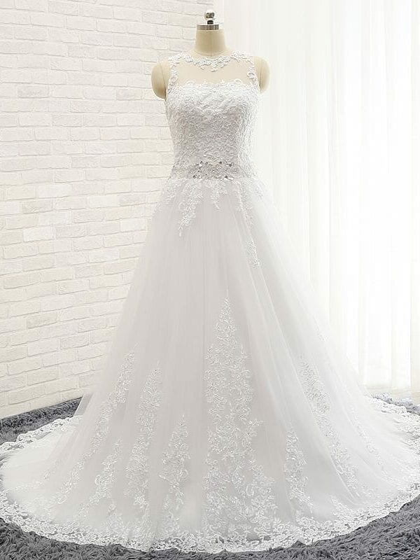A-line Sheer Sweetheart Appliqued Lace Beaded Belt Backless Wedding Dress