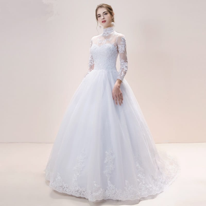 High Neck Iiiusion Lace Back Sweep Train Wedding Gown