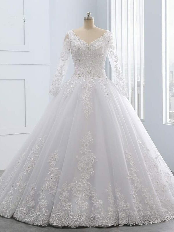 Luxury Vintage Long Sleeves Lace Wedding Dress