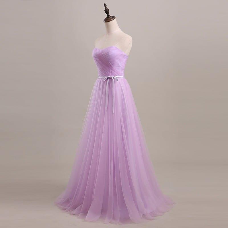 Long Tulle Pleated Bridesmaid Dress