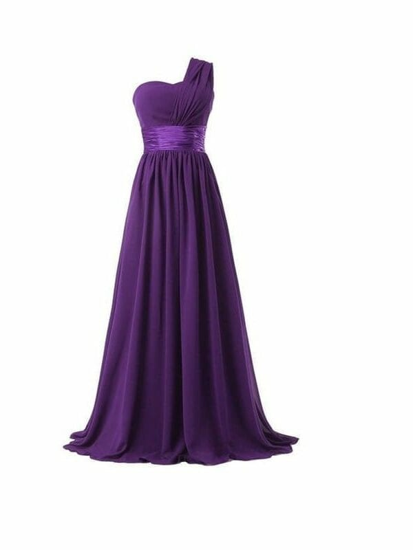 One Shoulder Chiffon Formal Party Long Bridesmaid Dress