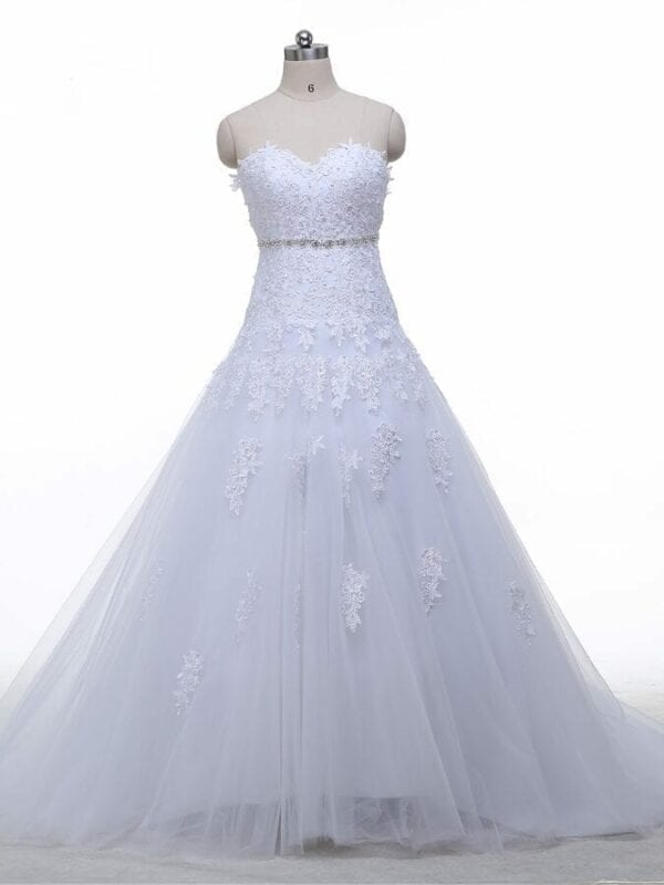 Sweetheart Light Champagne Lace Applique Wedding Dress