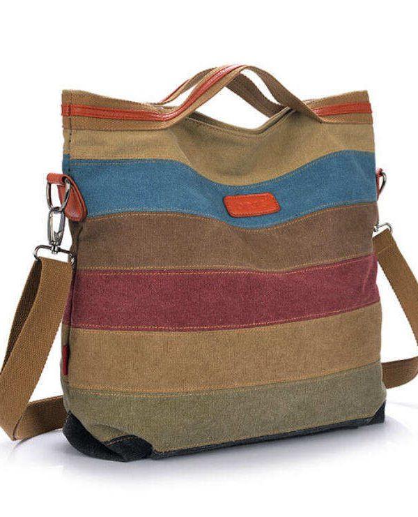 Stripe Vintage Shoulder Pouch Messenger Bag