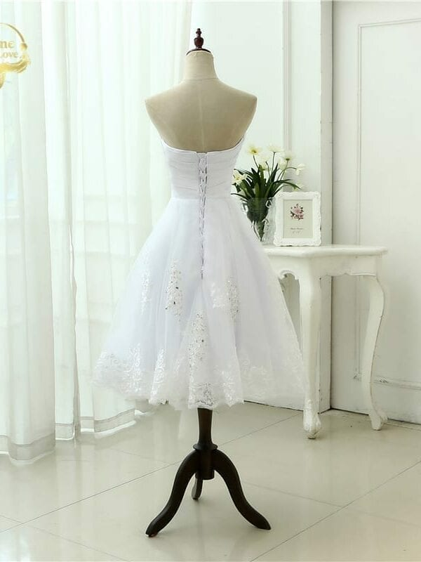 A Line Beading Tea Lenght Sweetheart Lace Wedding Dress