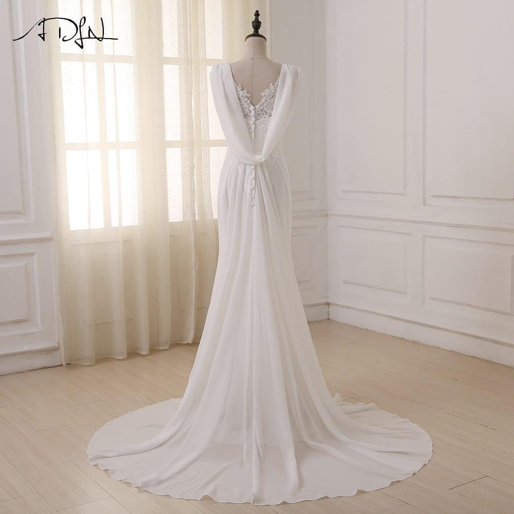 Lace Chiffon Beach Bride Dress