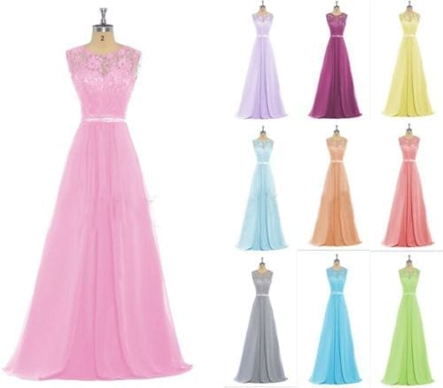 Colorful Long Lace Scoop Sleeveless Chiffon Bridesmaid Dress