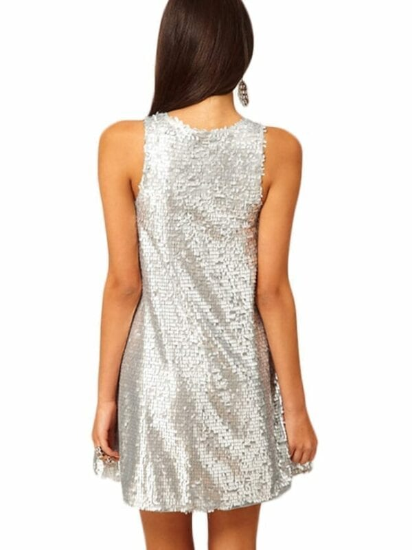 Silver Color Sleeveless O-neck Casual A-line Party Dress