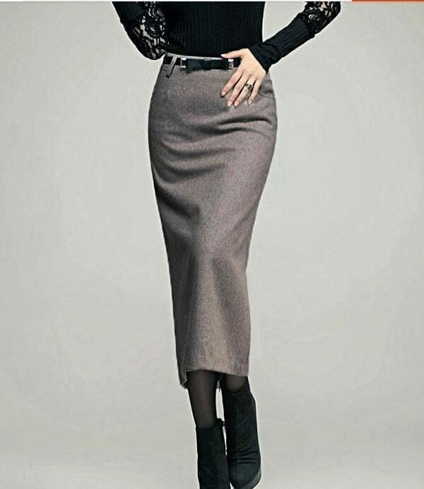 Woolen High Waist Ol Slim Long Pencil Skirt