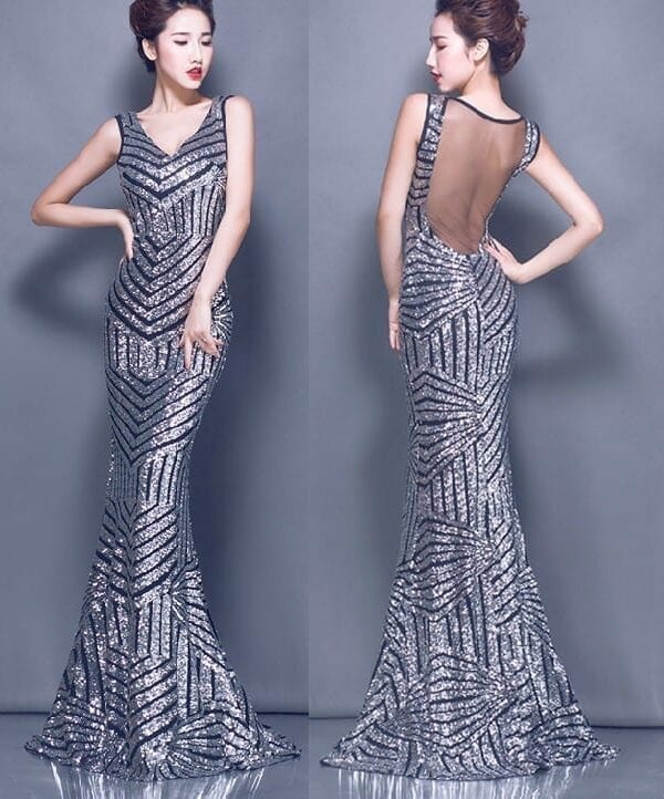 Sequined Lace Party Long Evening Dress