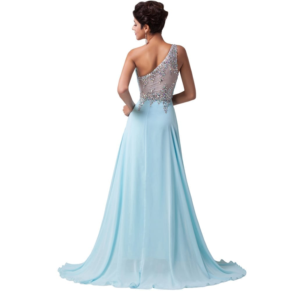 Full Length One Shoulder Beads Bandage Chiffon Evening Dress