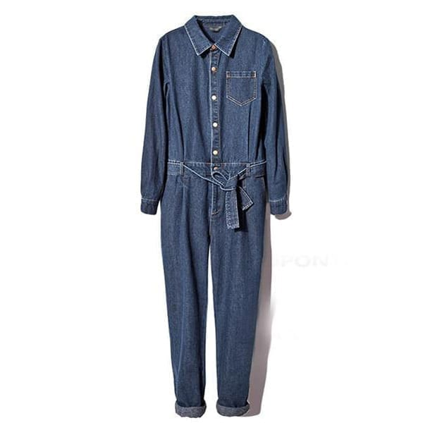 Women's Full Sleeve Casual Loose Denim Jumpsuits