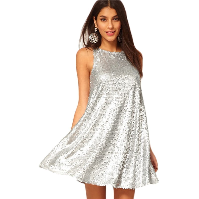 Silver Color Sleeveless O-neck Casual A-Line Party Dress ...
