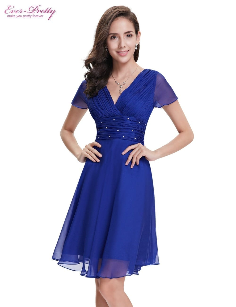Short Sleeve V Neck Ruched Bust Chiffon Party Dress ...
