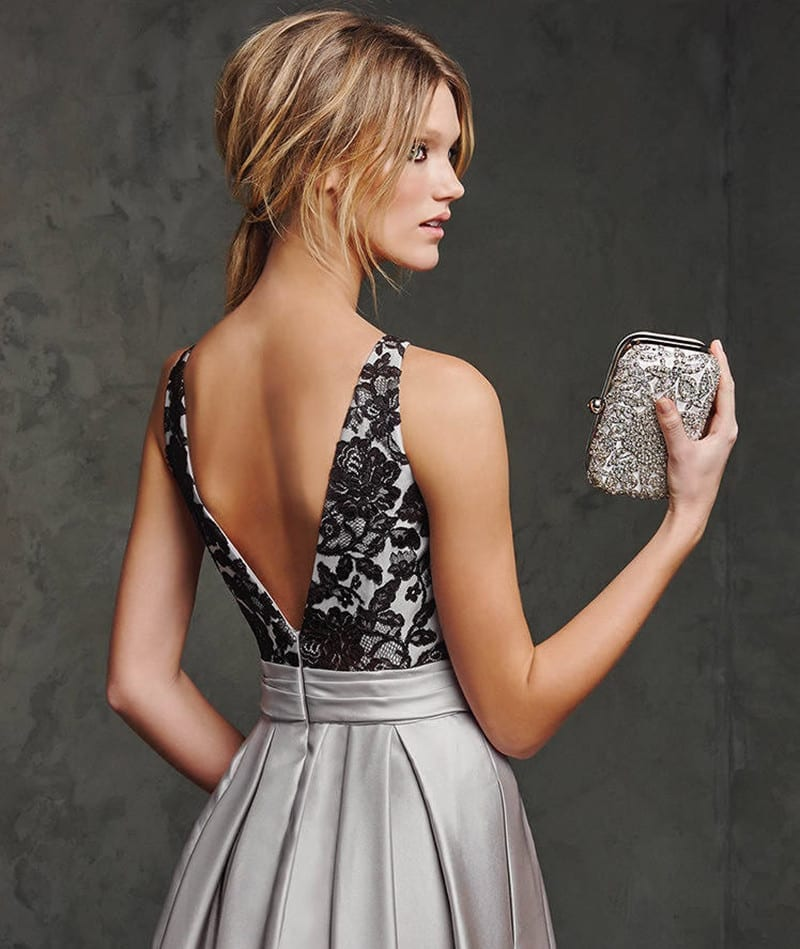 Sexy Backless Long Satin Black Lace Off The Shoulder Dress