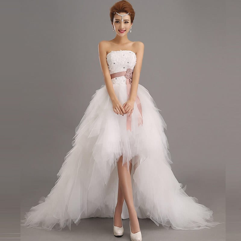 Royal princess wedding dress short train for Inexpensive short wedding dresses