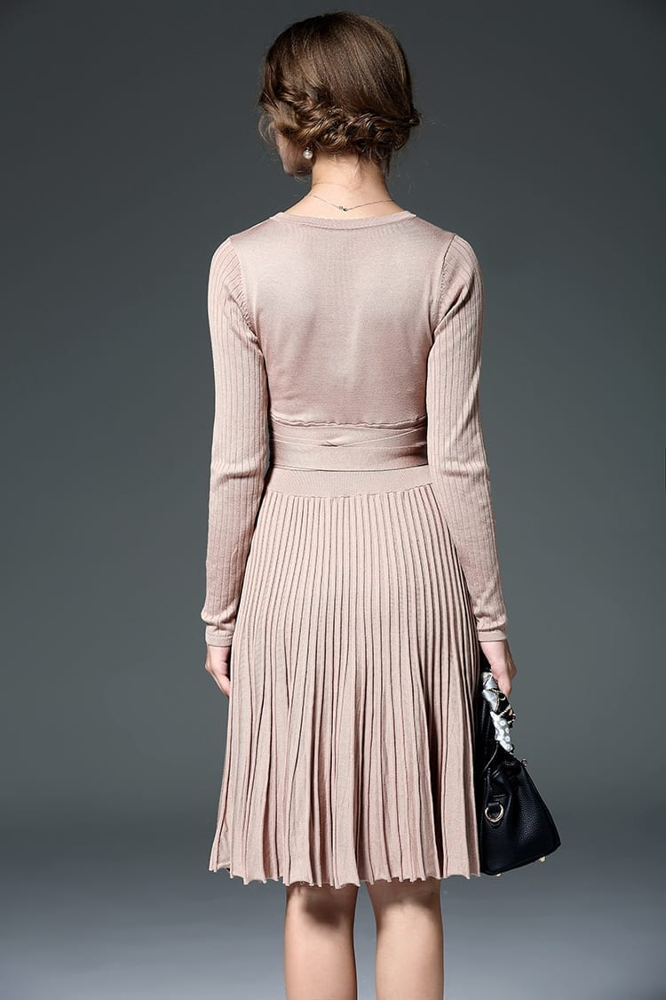 Long Sleeve V-neck Brief Solidy Knitting Knee-length Casual Dress