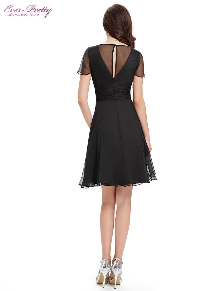 Short Sleeve V Neck Ruched Bust Chiffon Party Dress