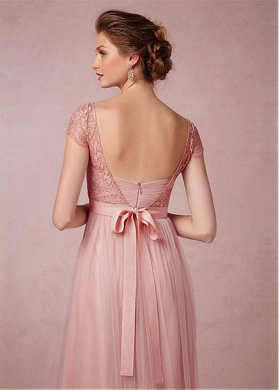 Lace Chiffon Long Bridesmaid Dress With Short Sleeve