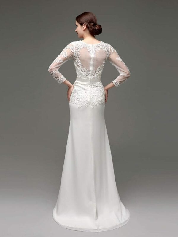 Long Sleeve Sheath Lace Appliqued Bridal Dress