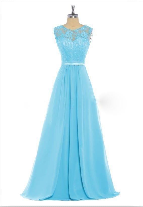 Colorful Long Lace Scoop Sleeveless Chiffon Bridesmaid Dress