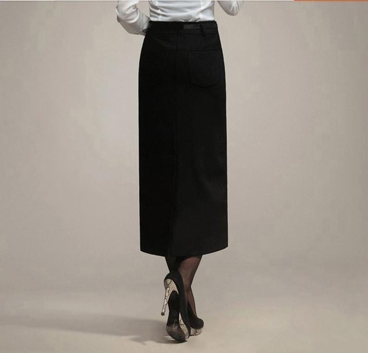 Woolen High Waist Ol Slim Long Pencil Skirt