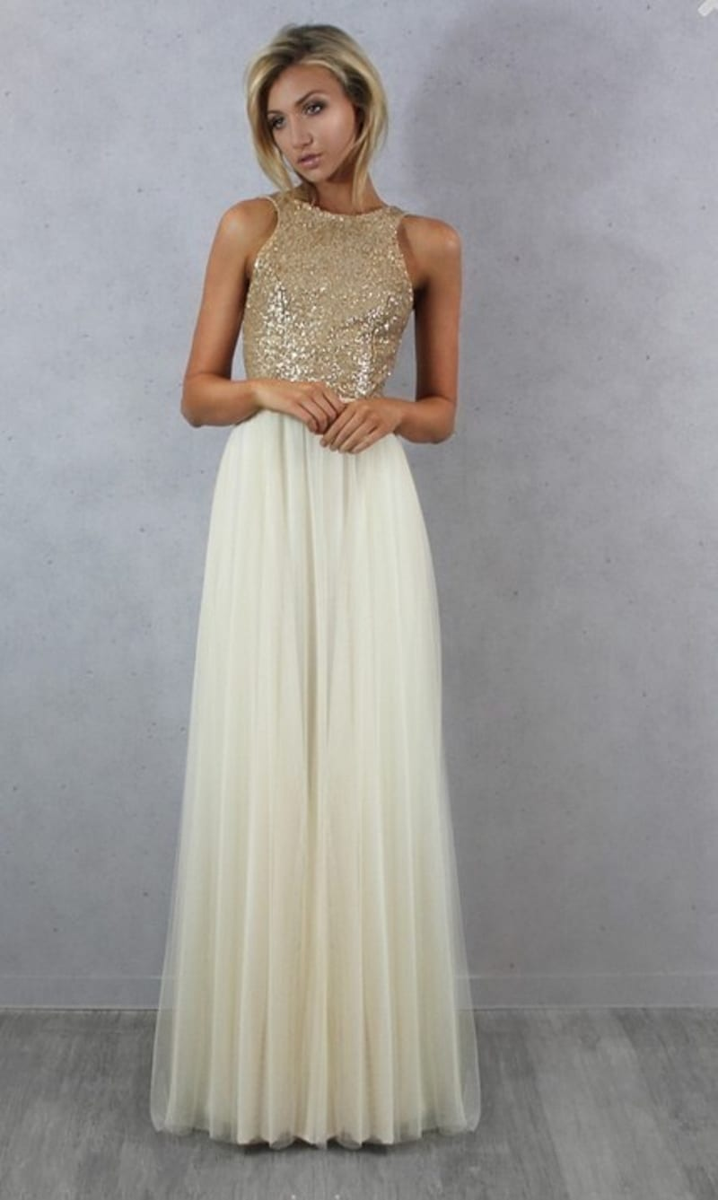 Charmming chiffon with top sequin bridesmaid dress for Best wedding dress shops